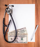 Stethoscope blank sheet of paper Stock Photos