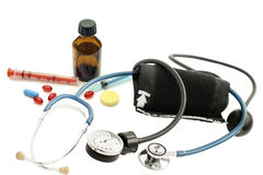 Stethoscope, blood pressure monitor and various pharmaceutical p Stock Photo