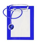 Stethoscope and blue clipboard isolated on white Stock Photos