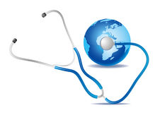 stethoscope and blue earth Royalty Free Stock Photography