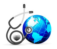 Stethoscope and blue earth Stock Images