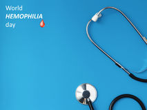 Stethoscope on a blue table, concept of medicine. World hemophilia day Stethoscope on a blue table, concept of medicine Stock Photos