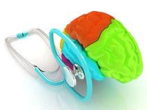 Stethoscope and brain. 3d illustration. Stethoscope and brain. The 3d illustration Royalty Free Stock Photos