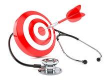 Stethoscope with bull`s eye. Isolated on white background Royalty Free Stock Photo