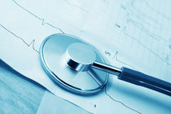 Stethoscope and cardiogram Royalty Free Stock Images