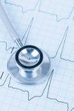 Stethoscope on cardiogram Stock Image