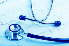 Stethoscope on cardiogram concept for heart care Royalty Free Stock Photos