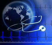 Stethoscope on the cardiogram. Day Of Medical Worker. Medical background royalty free stock image