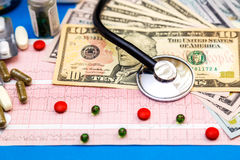Stethoscope on cardiogram sheet with dollar bills and pills. Royalty Free Stock Images