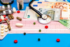 Stethoscope on cardiogram sheet with Euro bills and pills. Royalty Free Stock Photos