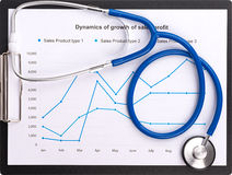 Stethoscope on the chart statistics business sales report Royalty Free Stock Photo