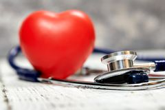 Stethoscope. Checking the heart rate. Medical tool. For your design. Metal. Royalty Free Stock Photo