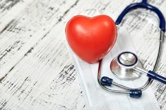 Stethoscope. Checking the heart rate. Medical tool. For your design. Metal. Stock Photography