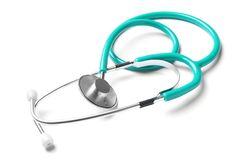 Stethoscope for checking pulse. On white background royalty free stock photo