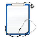 Stethoscope and clipboard Royalty Free Stock Images