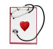 Stethoscope,clipboard,heart Royalty Free Stock Photos