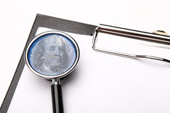 Stethoscope and  clipboard on white Stock Images