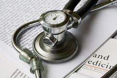 Stethoscope with clock stock images