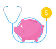 The stethoscope, coin, piggy bank. Financial concept flat vector Royalty Free Stock Photo