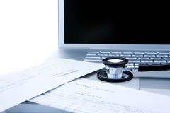 Stethoscope and computer Stock Photography