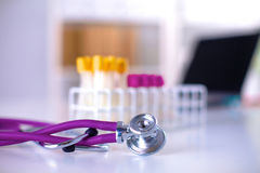 Stethoscope and computer on a desk in the office Royalty Free Stock Photo