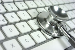 Stethoscope. Computer keyboard Stock Images