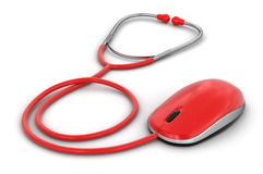 Stethoscope and Computer Mouse (clipping path included) Royalty Free Stock Photo
