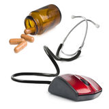 Stethoscope computer mouse medical online concept Royalty Free Stock Image