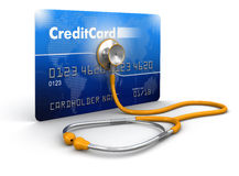 Stethoscope and Credit Card Royalty Free Stock Photos