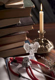 Stethoscope, cup of tea, books, candle. Still life Stock Images
