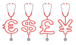 Stethoscope currency symbols Stock Images