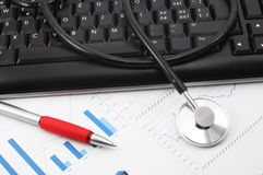 Stethoscope on desktop Stock Image