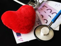Stethoscope for doctor and medical nursing people in hospital, healing of patients. Money and red heart. Stethoscope for doctor and medical nursing people in stock photography