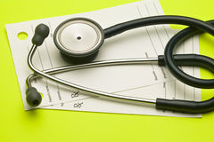 Stethoscope and a doctors prescription pad Royalty Free Stock Photos