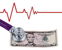 Stethoscope and dollar Royalty Free Stock Photography