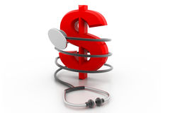 Stethoscope with dollar symbol. 3d stethoscope with dollar symbol Royalty Free Stock Images
