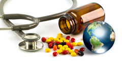 Stethoscope and earth Royalty Free Stock Images