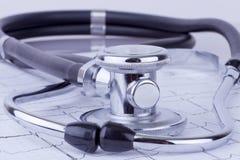 Stethoscope on ECG. Close-up of stethoscope on ecg diagram background royalty free stock image