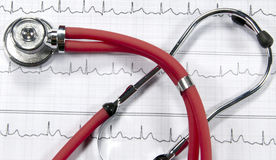 Stethoscope and ECG Royalty Free Stock Photos