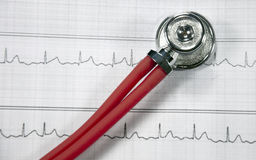Stethoscope and ECG Stock Image