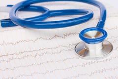 Stethoscope on ECG Royalty Free Stock Photography