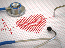 Stethoscope and ECG cardiogram. Medicine concept, Stock Photos
