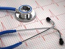 Stethoscope and ECG cardiogram. Medicine concept, Stock Image