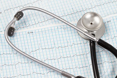 Stethoscope and ECG chart. Stethoscope over an ECG chart stock images