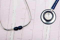 Stethoscope on ECG chart Royalty Free Stock Images