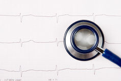 Stethoscope on ECG chart Stock Images
