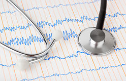 Stethoscope on ecg Stock Photos