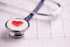 A stethoscope on ecg medical report royalty free stock image