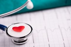 A stethoscope on ecg medical report royalty free stock photos