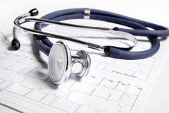 Stethoscope and ECG Royalty Free Stock Images